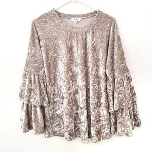 NWT! Umgee Beige Long Sleeve Crushed Velvet Top